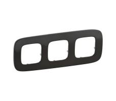Рамка трехместная Valena Allure (Чёрная сталь)