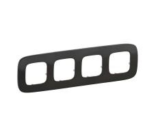 Рамка четырехместная Valena Allure (Чёрная сталь)