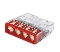 Клемма 4x2.5мм красная/прозрачная