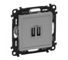 Valena Life розетка USB с лицевой панелью (алюминий)