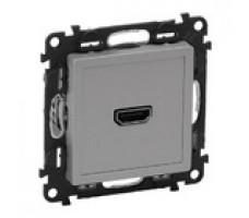 Valena Life розетка HDMI с лицевой панелью (алюминий)