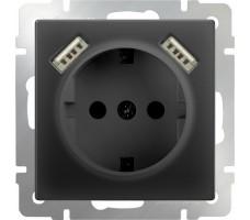 Розетка с заземлением, шторками и USB х2 Werkel черная