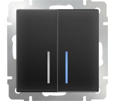 Выключатель двухклавишный с подсветкой LED Werkel Черный