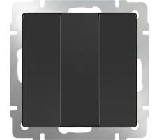 Выключатель трехклавишный Werkel черный