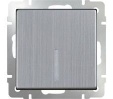 Выключатель одноклавишный с подсветкой LED Werkel Глянцевый никель (проходной)