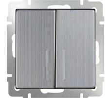 Выключатель двухклавишный с подсветкой  LED Werkel Глянцевый никель