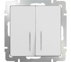 Выключатель двухклавишный с подсветкой  LED Werkel белый
