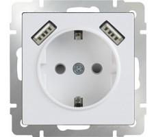 Розетка с заземлением, шторками и USB  Werkel белая