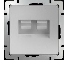 Розетка телефонная RJ-11 и Ethernet RJ-45 Werkel серебряная