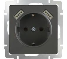 Розетка с заземлением, шторками и USB х2 Werkel серо-коричневая