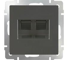 Розетка телефонная RJ-11 и Ethernet RJ-45  Werkel сере-коричневая