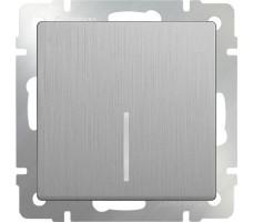 Выключатель одноклавишный с подсветкой LED Werkel серебрянная рифленая