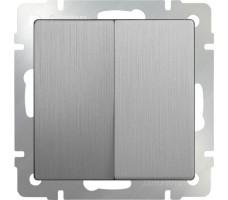 Выключатель двухклавишный Werkel серебрянная рифленая