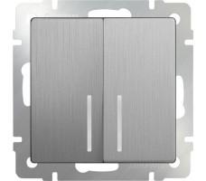 Выключатель двухклавишный с подсветкой  LED Werkel серебрянная рифленая
