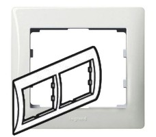 Рамка Legrand Galea life двухместная горизонтальная (белая)