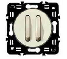 Выключатель бесшумный двухклавишный Legrand Celiane 6А с клавишей (слоновая кость)