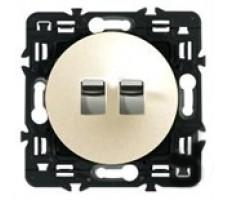 Выключатель-рычажок двухклавишный Legrand Celiane 6А с клавишей (слоновая кость)