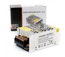 Блок питания для светодиодной ленты 12В, 40Вт, 3,33А, IP20, корпус из перфорированного металла