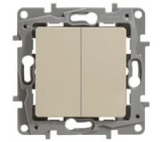 Legrand Etika Plus выключатель-переключатель двухклавишный (слоновая кость)