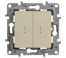 Legrand  Etika Plus выключатель-переключатель двухклавишный с подсветкой (слоновая кость)
