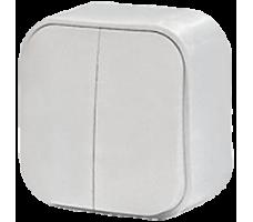 Выключатель двухклавишный IP20 белый Legrand Quteo