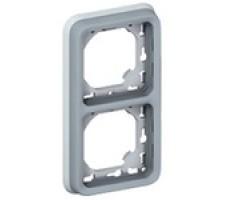 Legrand Plexo Рамка вертикальная для встроенного монтажа с суппортом 2 поста (цвет серый)