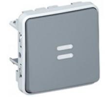 Legrand Plexo  выключатель кнопочный с подсветкой H.O. контакт IP55 (цвет серый)
