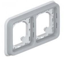 Legrand Plexo  рамка для встроенного монтажа с суппортом 2 поста (цвет серый)