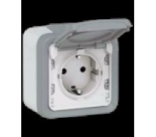 Legrand Plexo розетка с заземляющим контактом и крышкой IP55 (цвет серый)