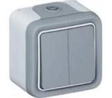 Legrand Plexo выключатель-переключатель двухклавишный Plexo 10A, IP55 (цвет серый)