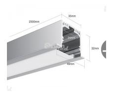 Профиль для светодиодной ленты прямоугольный встраиваемый LE4932
