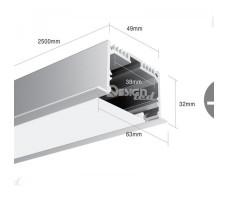 Профиль для светодиодной ленты прямоугольный встраиваемый LE6332