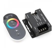Контроллер для светодиодной ленты rgb RF с черным пультом сенсорным 12/24в 24А