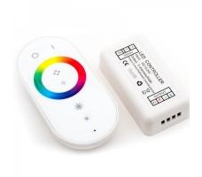 Контроллер для светодиодной ленты rgb RF с белым пультом сенсорным 12/24в 18А