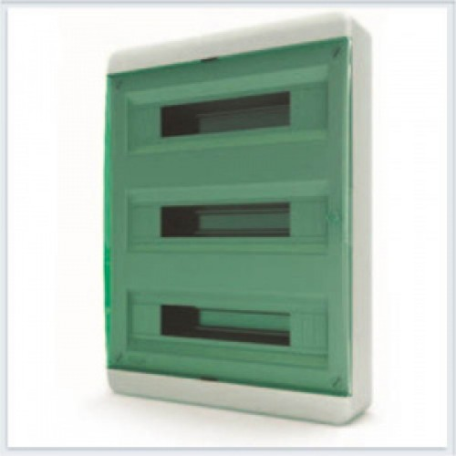 Tekfor бокс навесной 54 мод. IP41, прозрачная зеленая дверца
