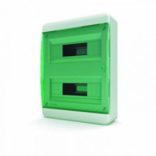 Tekfor бокс навесной 24 мод. IP41, прозрачная зеленая дверца