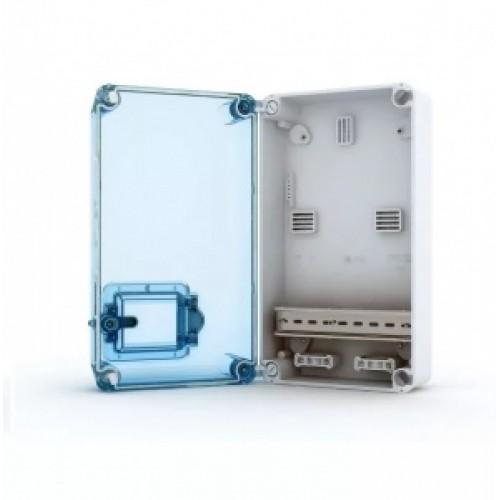 Tekfor бокс под счетчик накладной IP66 прозрачная синяя дверца