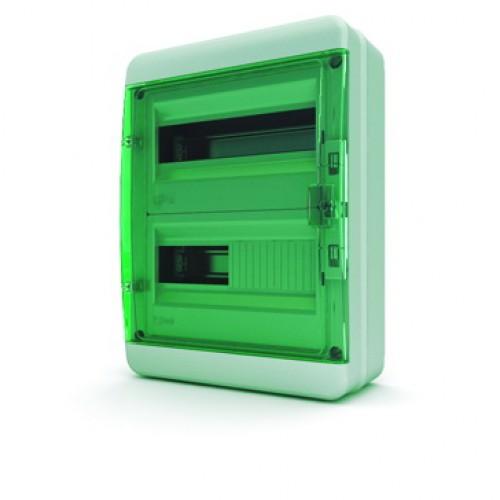 Tekfor бокс навесной 24 мод. IP65, прозрачная зеленая дверца