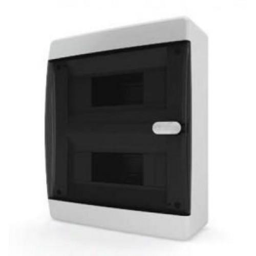 Tekfor бокс навесной 18 мод. IP41, прозрачная черная дверца